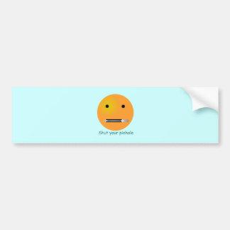 Shut Your Pie hole Smiley Face - Blue Background Bumper Sticker