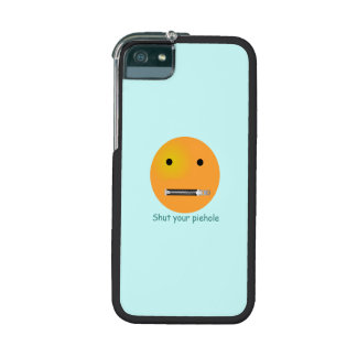 Shut Your Pie hole Smiley Face - Blue Background iPhone 5 Case