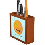 Shut Your Pie hole Smiley Face - Blue Background Desk Organizer
