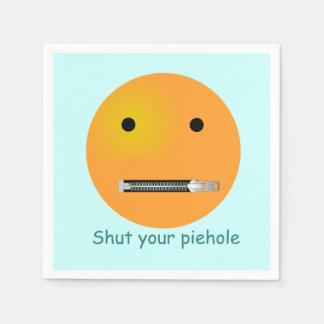 Shut Your Pie hole Smiley Face - Blue Background Paper Napkin