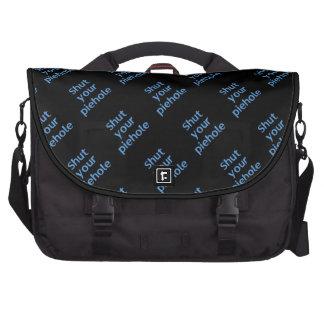 Shut Your Piehole (Black background) Laptop Computer Bag