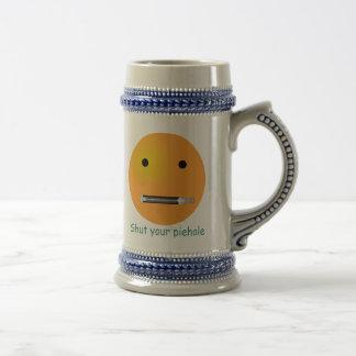 Shut Your Piehole Smiley Face 18 Oz Beer Stein