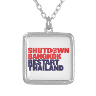 Shutdown Bangkok Restart Thailand Square Pendant Necklace