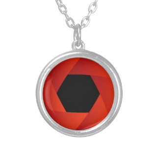 Shutter aperture silver plated necklace