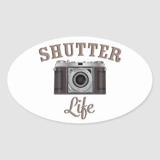 Shutter Life Retro Camera Oval Sticker