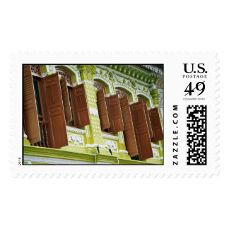 Shutters wide open postage stamp