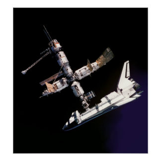SHUTTLE ATLANTIS docked to the SPACE STATION Poster