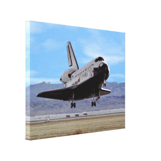 Shuttle Atlantis Landing at Edwards Stretched Canvas Print
