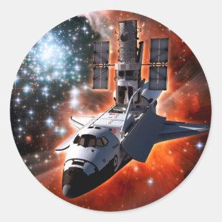 Shuttle Atlantis with Hubble Telescope Classic Round Sticker