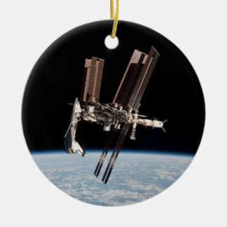 Shuttle Docks With The International Space Station Ceramic Ornament