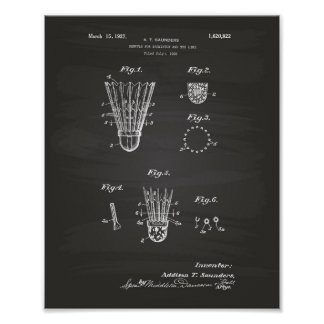 Shuttle For Badminton 1927 Patent Art Chalkboard Poster