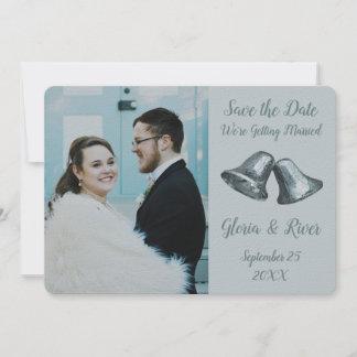Shuttle Gray Bells Wedding Save The Date
