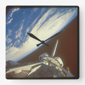 Shuttle in space_Space Square Wall Clock