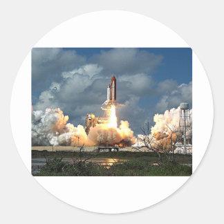 shuttle launch classic round sticker