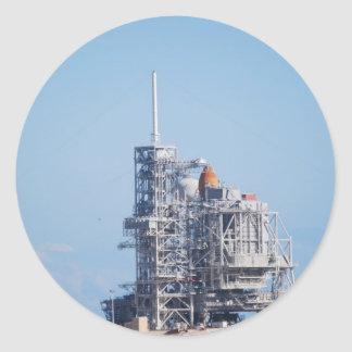 Shuttle on Launch Pad Classic Round Sticker
