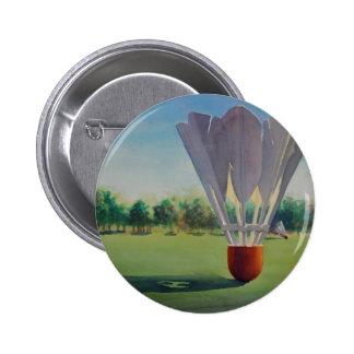"""Shuttlecocks"" Paul Jackson Watercolor Pinback Button"