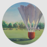 """Shuttlecocks"" Paul Jackson Watercolor Classic Round Sticker"