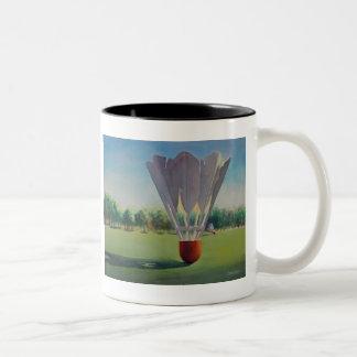 """Shuttlecocks"" Paul Jackson Watercolor Two-Tone Coffee Mug"