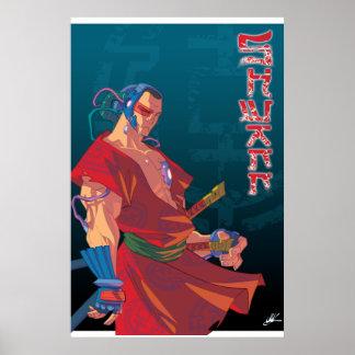 SHWANN: El samurai futurista DJ imprime Poster