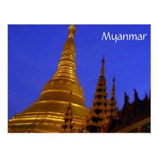 shwedagon night myanmar post card
