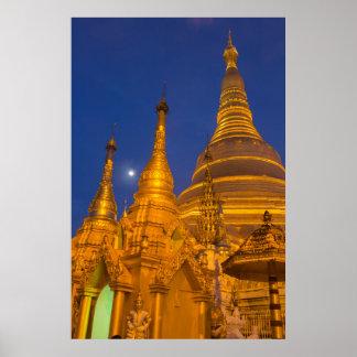 Shwedagon Pagoda at night, Myanmar Poster