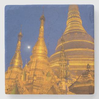 Shwedagon Pagoda at night, Myanmar Stone Coaster