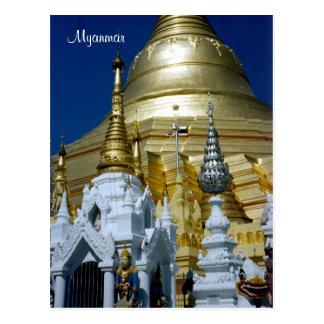 shwedagon pagoda postcard