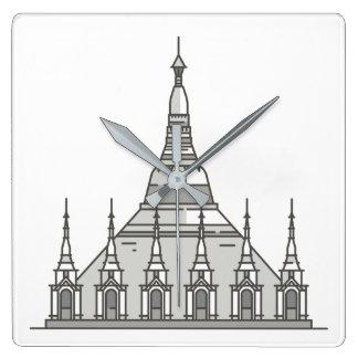 Shwedagon Pagoda World landmarks Square Wall Clock