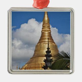 Shwedagon Pagoda, Yangon, Myanmar Square Metal Christmas Ornament