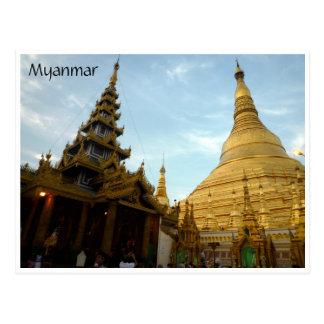 shwedagon stupas postcard
