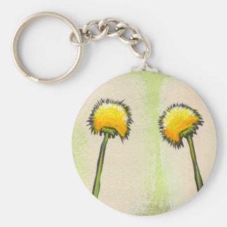 Shy awkward dandelions flower art fun painting basic round button keychain