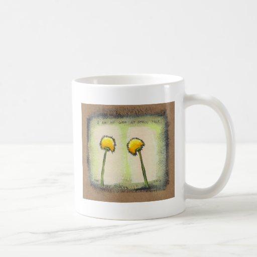 Shy awkward dandelions flower art fun painting coffee mug