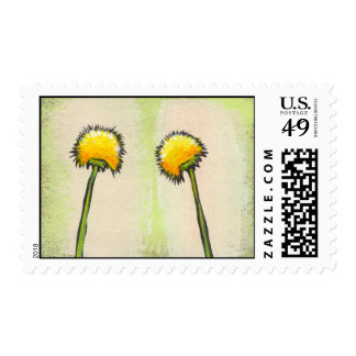 Shy awkward dandelions flower art fun painting postage