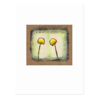 Shy awkward dandelions flower art fun painting postcard