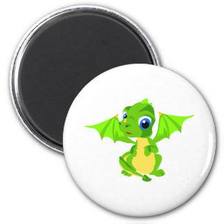 Shy Baby Dragon 2 Inch Round Magnet