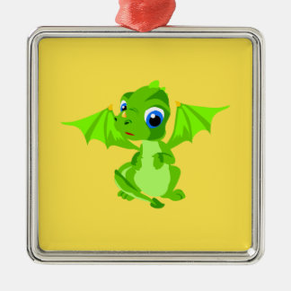 Shy Baby Dragon Metal Ornament