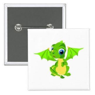 Shy Baby Dragon Pinback Button