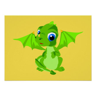 Shy Baby Dragon Poster