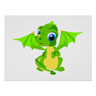 Shy Baby Dragon Poster
