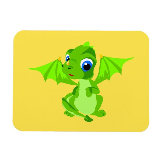 Shy Baby Dragon Rectangular Photo Magnet