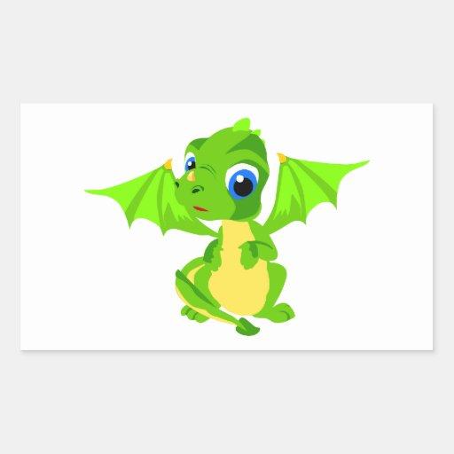Shy Baby Dragon Rectangular Sticker