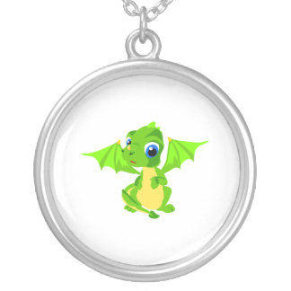 Shy Baby Dragon Round Pendant Necklace