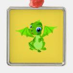 Shy Baby Dragon Square Metal Christmas Ornament