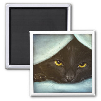 Shy Black Kitty - Magnet