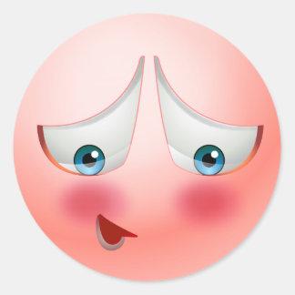 Shy blushing emoji classic round sticker