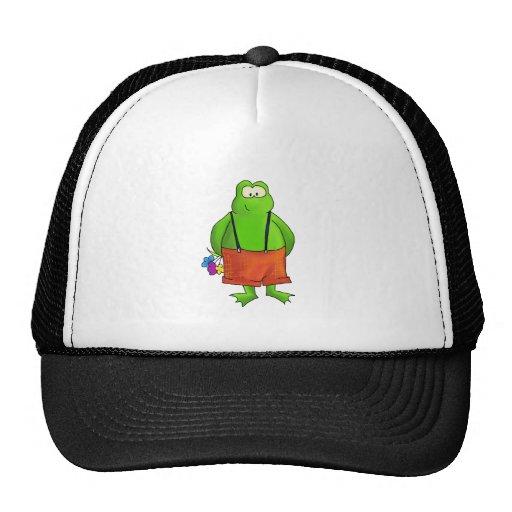 Shy Boy Frog with Flowers Trucker Hat