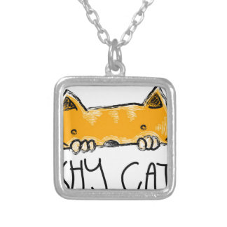 shy cat silver plated necklace