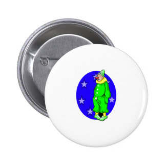 Shy clown with hands in pocket button