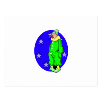 Shy clown with hands in pocket postcard