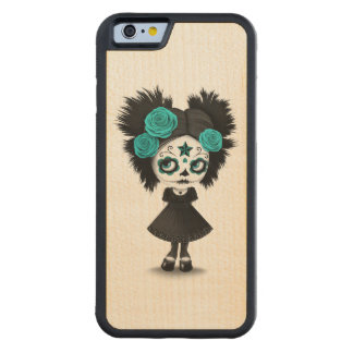 Shy Day of the Dead Girl with Big Eyes Blue Carved Maple iPhone 6 Bumper Case